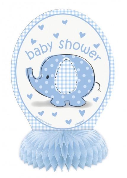 4 Elefanten Baby Party Wabenball Aufsteller Azurblau