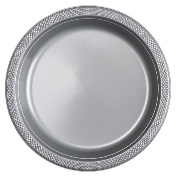 10 Kunststoffteller Partytime Silber 23cm