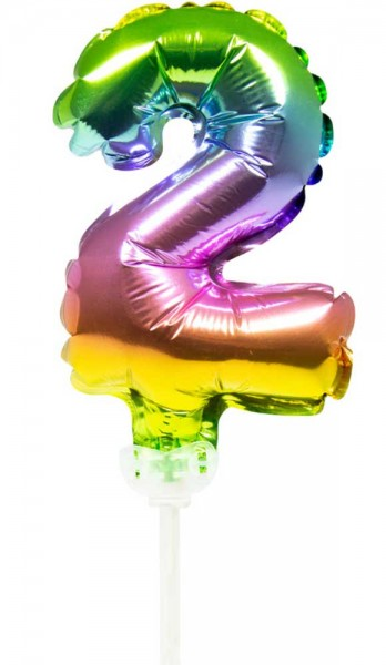 Regenbogen Tortendeko Ballon Zahl 2