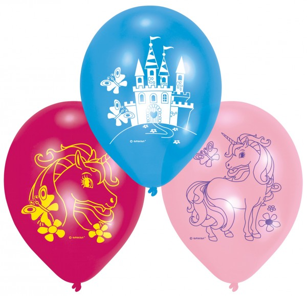 6 charming unicorn balloons 23 cm