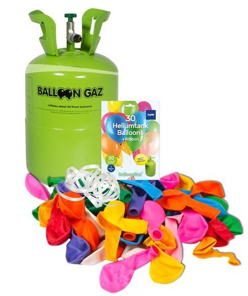 Bouteille d'hélium avec 30 ballons colorés