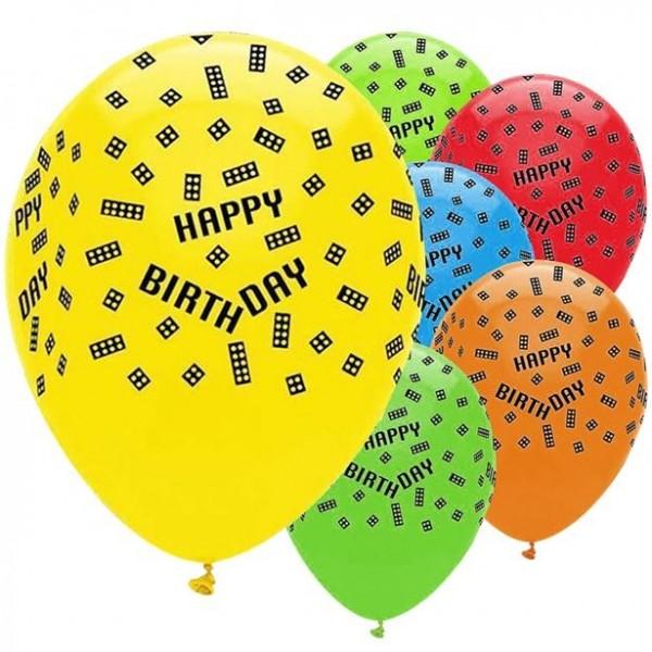 6 Bunte Bausteine Luftballons 30cm