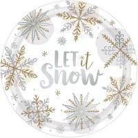 8 Assiettes en papier Let it snow 26cm