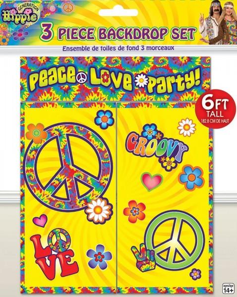 Peace & Love Hippie Wanddeko 3-teilig