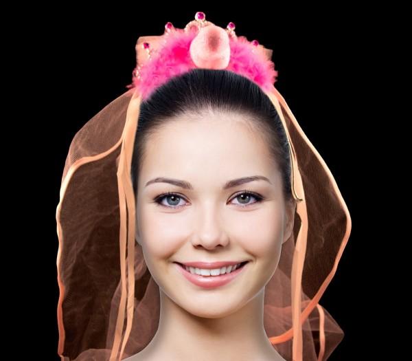 Tiara der Braut in Pink