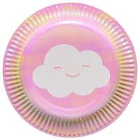 8 Süße Wolkenwelt Pappteller 18cm