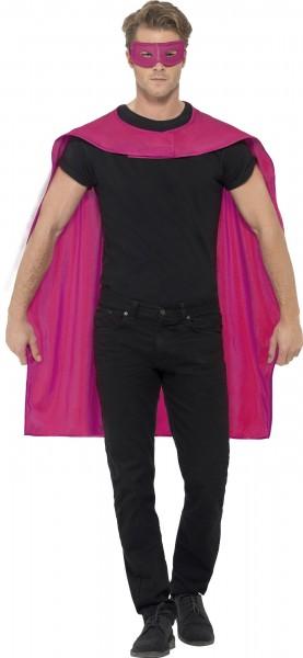 Pinker Superhero Umhang mit Augenmaske