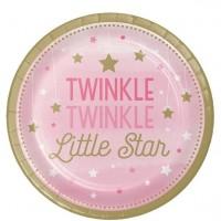 8 Twinkle Pink Star Pappteller 23cm