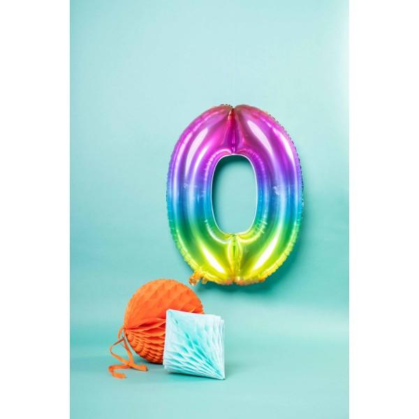 Number 0 Super Rainbow Foil Balloon 86cm