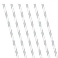 24 silber weiß gestreifte Papier Strohhalme 19ccm