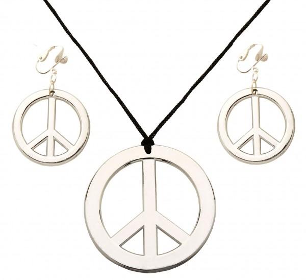 Set collana e orecchini con simbolo della pace