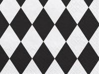 20 Harlekin Servietten Weiß Schwarz 33 x 33cm