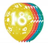 5 bunte Ballons 18. Geburtstag 30cm