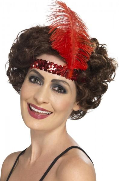 Czerwona cekinowa opaska na głowę Malin 20s