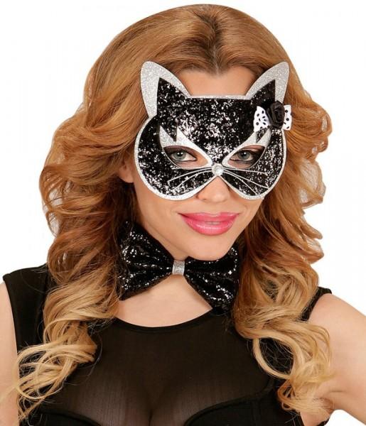 Glitzernde Katzenmaske Mit Glitzer Fliege