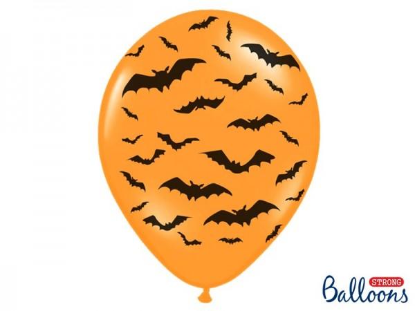 6 Halloween Fledermaus-Ballons 30cm