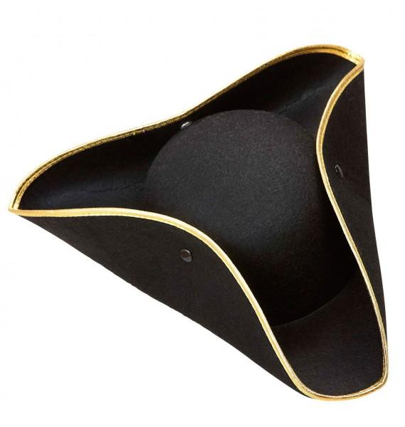 Barocker Dreispitz Hut Schwarz-Gold