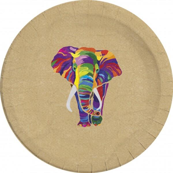 8 Elefanten Parade Öko Pappteller 23cm