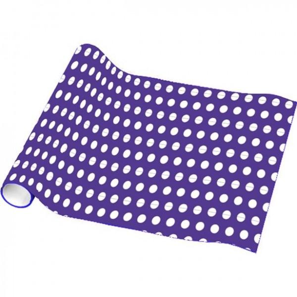 Papier d'emballage à pois violet 4,8 m