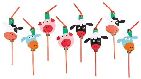 8 lovable farm animals straws 24cm
