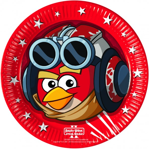 8 Angry Birds Star Wars Pappteller 23cm