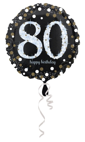 Golden 80th Birthday Folienballon 43cm