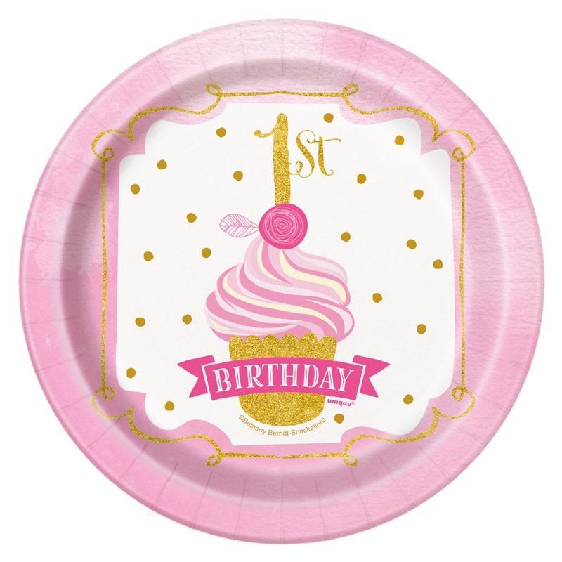 8 Prinzessin Alice 1 Geburtstag Pappteller Rosa 18cm Party De