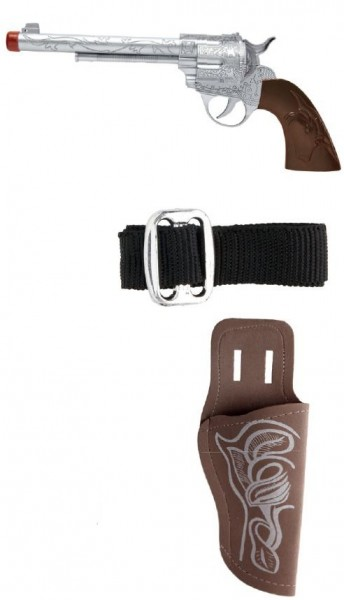 Cowboy pistol with belt and holster