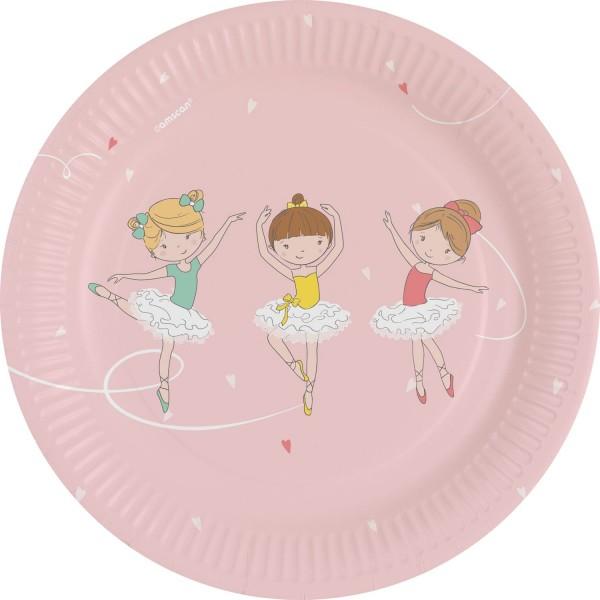 8 petites assiettes de fête ballerine 18cm