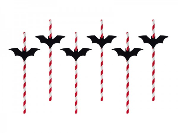 6 Bat Straws Red 24cm