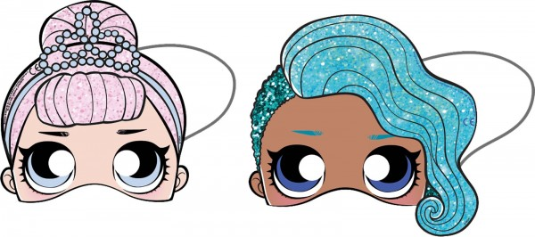 6 masques en papier LOL Glam Girls