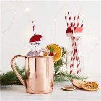 20 Papier-Trinkhalme mit Weihnachtsmützen