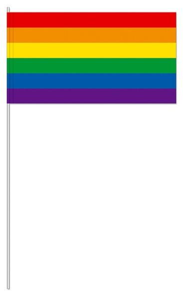 10 Pride Papierfahnen mit Stab 39cm