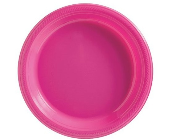 50 platos de plástico rosa 18cm