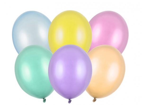 100 Partystar metallic Ballons pastell 23cm