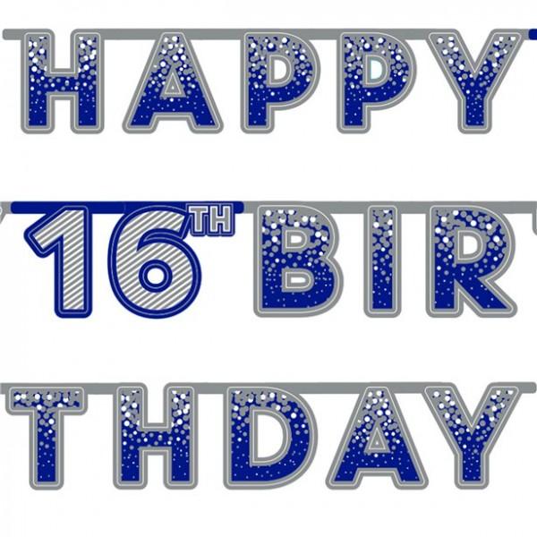 16. Geburtstag Happy Blue Girlande