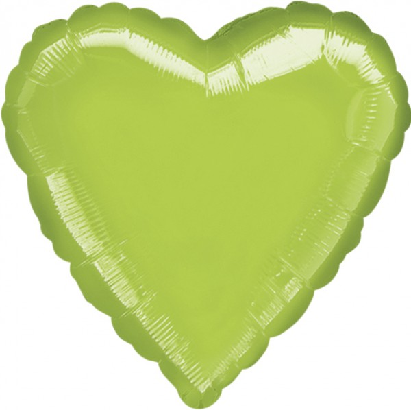 Lime green heart balloon 45cm