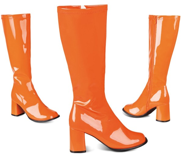 70er Jahre Lackstiefel In Orange