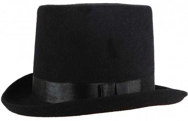 Chapeau haut de forme noir avec ruban gros-grain
