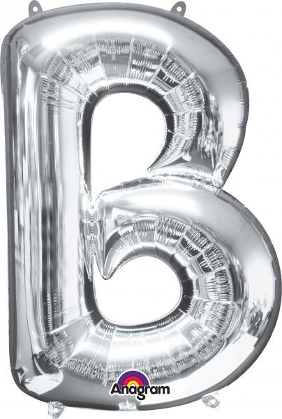 Folieballon letter B zilver 86cm