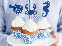 6 maritime Cupcake Stecker Ahoi 12cm