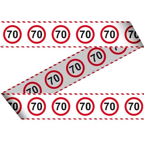 Absperrband zum 70. Geburtstag Verkehrsschild 15m