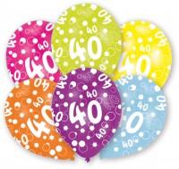 6 Luftballons Bubbles 40.Geburtstag Bunt 27,5cm