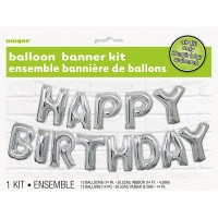 Happy Birthday Folienballon Girlande Silber Celebration