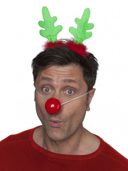 Cute headband antlers with red nose