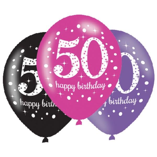 6 Sparkling 50th Birthday Ballons Pink 1