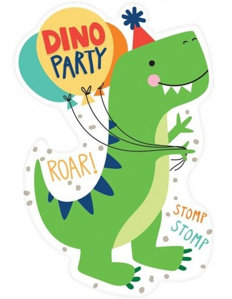 8 cartes d'invitation dinosaures de fête 10cm