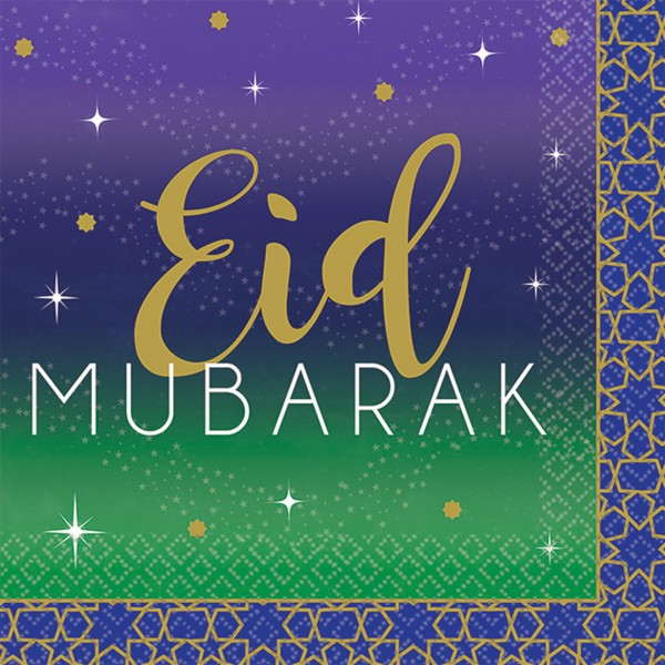 16 serviettes Eid Mubarak 25 x 25cm
