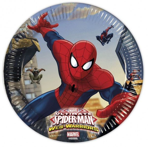 8 Spiderman Web Warriors Pappteller 20cm