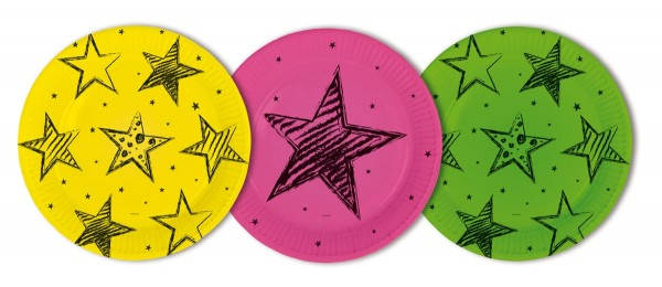 6 Neon Star Pappteller 23cm